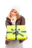 Happy woman with green gift box Stock Images