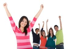 Happy woman with a group Royalty Free Stock Image