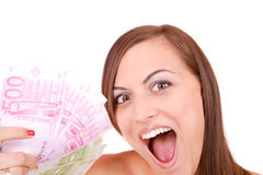 Happy woman with group of euro bills Isolated. Stock Image