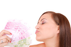 Happy woman with group of euro bills Isolated. Stock Photos