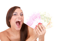 Happy woman with group of euro bills Isolated. Royalty Free Stock Photos