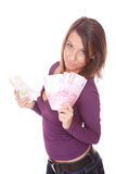 Happy woman with group of euro bills Isolated. Stock Images