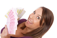 Happy woman with group of euro bills Isolated. Royalty Free Stock Images