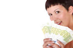 Happy woman with group of euro bills Isolated. Stock Photography