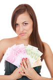 Happy woman with group of euro bills Isolated. Stock Photo
