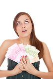 Happy woman with group of euro bills Isolated. Royalty Free Stock Photo