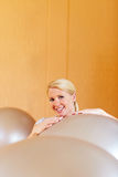 Happy woman with gym balls Royalty Free Stock Photo