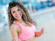 Happy woman at the gym Stock Photography