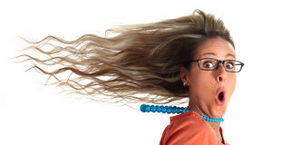 Happy woman hair. Young happy laughing girl head long hairs with wind on face royalty free stock images