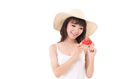 Happy woman hand holding watermelon, summer time Stock Photos