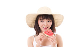 Happy woman hand holding watermelon, summer time Stock Photography