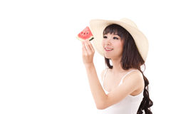 Happy woman hand holding watermelon, summer time Stock Image