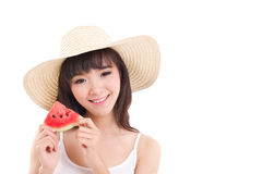 Happy woman hand holding watermelon, summer time concept Stock Images