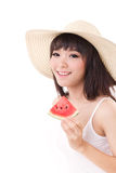 Happy woman hand holding watermelon, summer time concept Royalty Free Stock Images