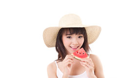 Happy woman hand holding watermelon, summer time concept Royalty Free Stock Photography