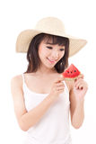 Happy woman hand holding watermelon, summer time concept Stock Photos
