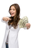 Happy woman handing cash Royalty Free Stock Photo