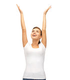 Happy woman with hands up stock photos