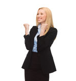 Happy woman with hands up Royalty Free Stock Image