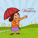 Happy woman for Happy Monsoon concept. Royalty Free Stock Image
