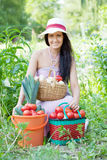 Happy woman with  harvested vegetables Stock Photos