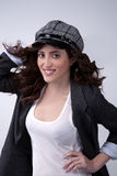 Happy woman in a hat Stock Images