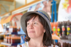 Happy woman in a hat Royalty Free Stock Images