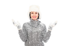 Happy woman in hat and mitten Stock Photos
