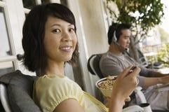 Happy Woman Having Breakfast Stock Images
