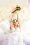 Happy Woman having Fun! Fashion Model Bride Stock Photography
