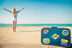 Happy woman having fun on summer vacation. Happy woman on the beach. Person having fun on summer vacation. Holiday travel concept stock photo