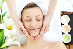 Happy woman having a head massage Royalty Free Stock Images