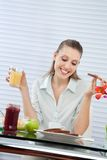 Happy Woman Having Orange Juice Stock Photo