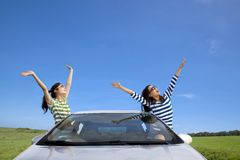 Happy woman having road trip Stock Photos