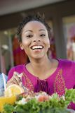 Happy Woman Having Salad At Cafe Royalty Free Stock Photo