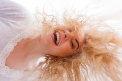 Woman with wet blonde hair stock photo