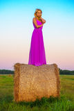 Happy woman with hay in meadow field Royalty Free Stock Image