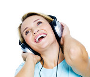 Happy woman with headphones Royalty Free Stock Images