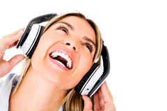Happy woman with headphones Royalty Free Stock Photo