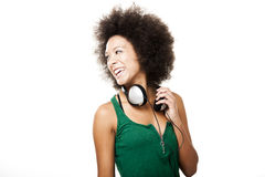 Happy woman with headphones Royalty Free Stock Image