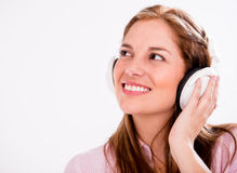 Happy woman with headphones Stock Images