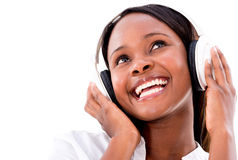 Happy woman with headphones Stock Image