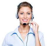 Happy woman in headset Stock Photos