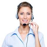 Happy woman in headset Stock Photos