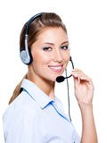 Happy woman in headset Stock Images