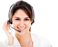 Happy woman with headset Stock Photos