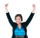 Happy Woman With Headset Cheering Royalty Free Stock Photography
