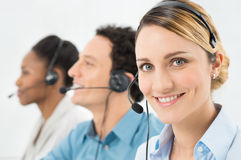 Happy Woman With Headsets Stock Photo