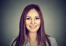Happy woman. Headshot of smiling toothy girl Royalty Free Stock Photography