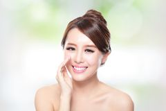 Happy woman with health skin talk to you Stock Images